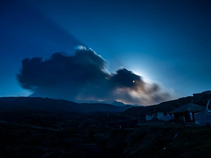 平成最後の満月と中岳の小噴火