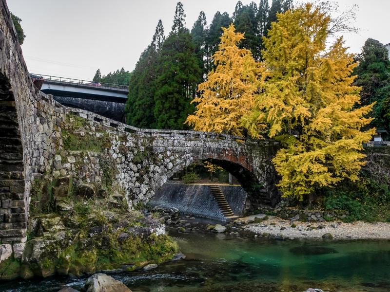 時代を経て銀杏の紅葉と石橋